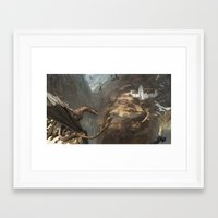 smaug Framed Art Prints featuring Smaug by Hugh Ebdy