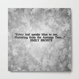 Autumn Literature Quotes Black and White Metal Print