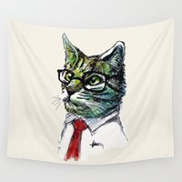 the office Wall Tapestries featuring Office Cat by e  r  i  c  g  u  e  r  r  e  r  o