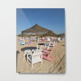 Some colored chairs on a beach bar in Portugal Metal Print