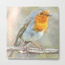 The Robin Is A Gabriel Watercolor Metal Print