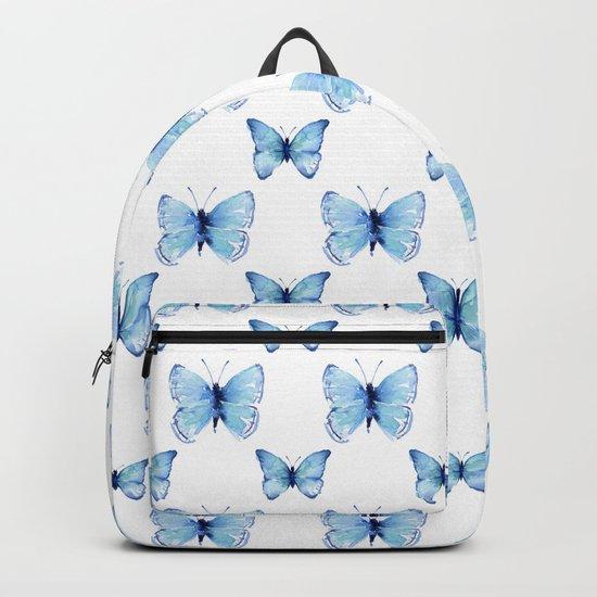 Blue Butterflies Pattern Butterfly Watercolor by olechka
