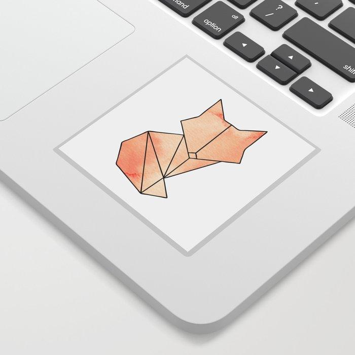 Geometric Fox - Orange Sticker