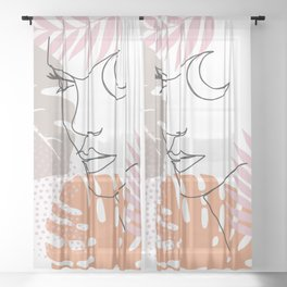 Jungle Line Girl Sheer Curtain