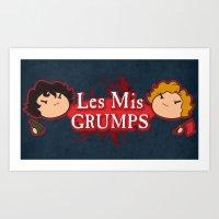 les mis Art Prints featuring Les Mis Grumps by juanjoltaire