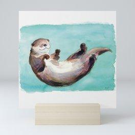 Swimming otter watercolor Mini Art Print