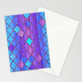 Moroccan Tile Pattern In Purple And Aqua Blue Stationery Cards