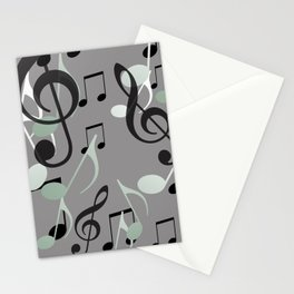 Flying Music Notes grey and white Stationery Cards
