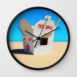 Chinese Take-out Oyster Pail Pop Art Desert Landscape by Jeanpaul Ferro Wall Clock