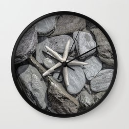 Starfish on Rocks monochrome beige Wall Clock