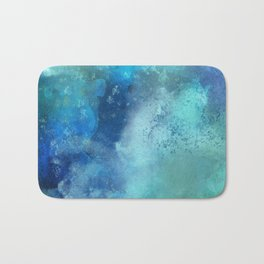 Abstract navy blue teal turquoise watercolor pattern Bath Mat