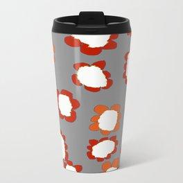 Daisies on Putty pattern Metal Travel Mug