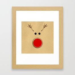 Reindeer Rudolph's Red Nose  Framed Art Print