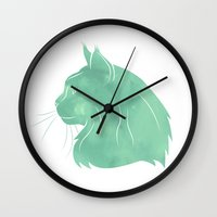 maine Wall Clocks featuring Maine Coon by Jonathan Hall
