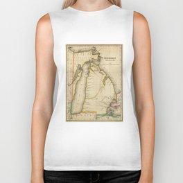 Vintage Map of Michigan (1822) Biker Tank