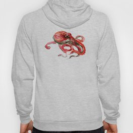 Octopus, Coral Reef, Sea world red design, red room design Hoody