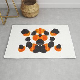Orange & Black Inkblot Diagram Rug