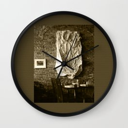 Farmer's Cafe Brick Wall and Draped Wall Hanging Vintage Style Black and White Photograph Wall Clock