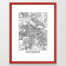 Amsterdam White Map Framed Art Print
