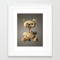 hologram Framed Art Prints featuring Sad Mentalembellisher Poet Teddy Bear With Hologram Eyes by mentalembellisher