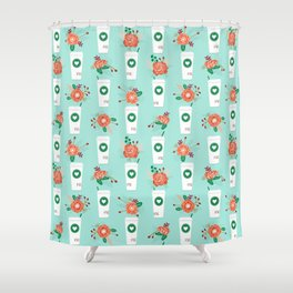 Coffee lovers mint floral bouquet gift idea for sbucks fan java pattern kitchen food Shower Curtain