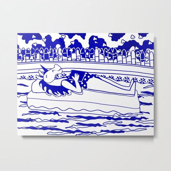 Pool Time Unicorn V2 Metal Print