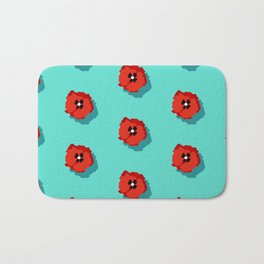 Poppies pattern Bath Mat