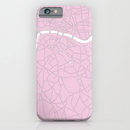 London Pink on White Street Map iPhone Case