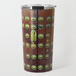 Binary coded wood door Travel Mug