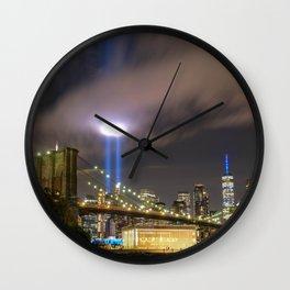 September 11 Tribute Lights Wall Clock