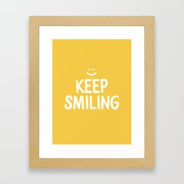 Keep Smiling Quote - Yellow Framed Art Print