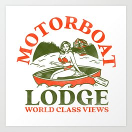 Motorboat Lodge: World Class Views. Funny Retro Pinup Girl In A Canoe Art Print