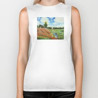 monet Biker Tanks featuring Claude Monet - Poppy Field at Argenteuil by Elegant Chaos Gallery
