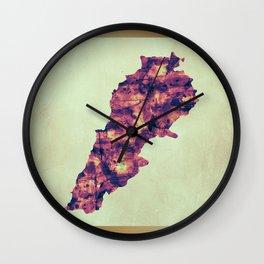 Lebanon Map with Flag Wall Clock