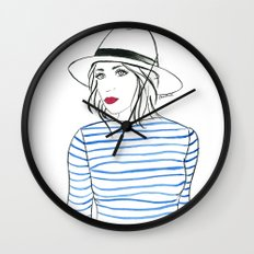 Stripes & Red Lips Wall Clock