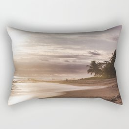 Solo traveler man walks down paradise beach alone in Costa Rica at sunset Rectangular Pillow