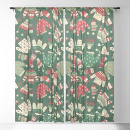 Ugly Christmas Fashion red green white Sheer Curtain