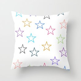 Stars In Colors Throw Pillow