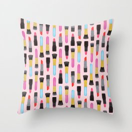 Make-up and Lipstick Watercolor pattern | Girly Pattern | Beauty pattern | Pink art | Lovely art Throw Pillow