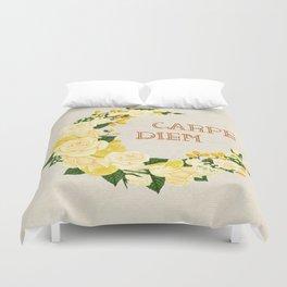 Crescent Bloom | White roses , lemons n lilies  Duvet Cover