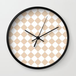 Diamonds - White and Pastel Brown Wall Clock