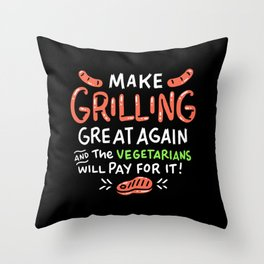 Make Grilling Great Again For Trump BBQ Lovers And Fans print Throw Pillow