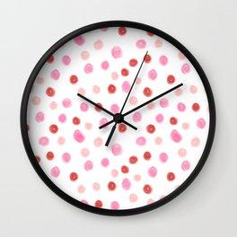 Dots pointed polka dot pattern red pink pastel painterly dot Wall Clock