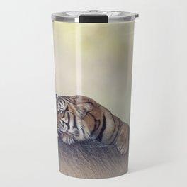 Bengal tiger resting on a rock Travel Mug