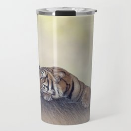 Bengal tiger resting on a rock Travel Mug