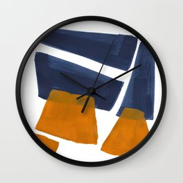 Colorful Minimalist Mid Century Modern Shapes Navy Blue Yellow Ochre Sharp Shapes Wall Clock