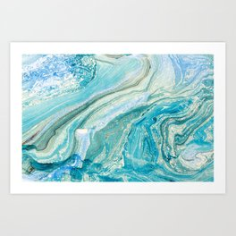 Blue Liquid Marble Art Print