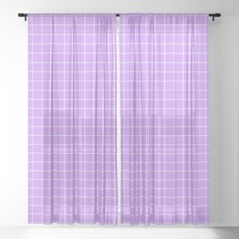 Lilac with White Grid Sheer Curtain