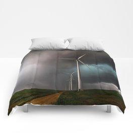 Wind Farm - Renewable Energy on the Texas Plains Comforters