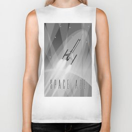 Vintage Rocket Poster Illustration (Black and White) Biker Tank